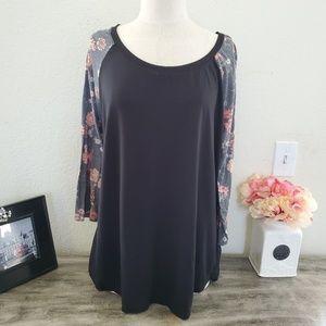 TORRID Floral Print Sleeve Shirt